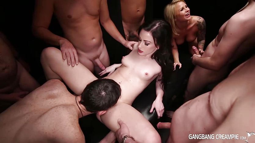Gangbang Creampie blonde eats creampies from pussy