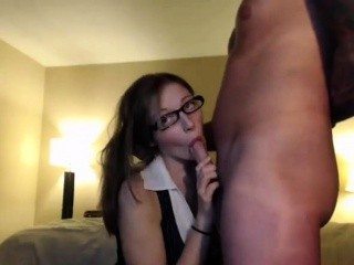 Geek on livecam sucking her boyfriend and more
